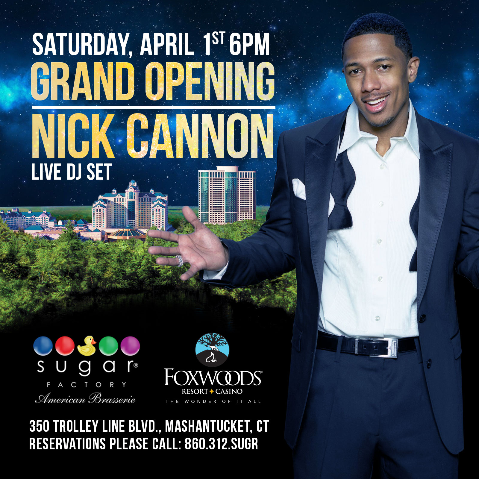 Nick Cannon Set to Rock Sugar Factory Foxwood Grand Opening this April Fools Day Weekend