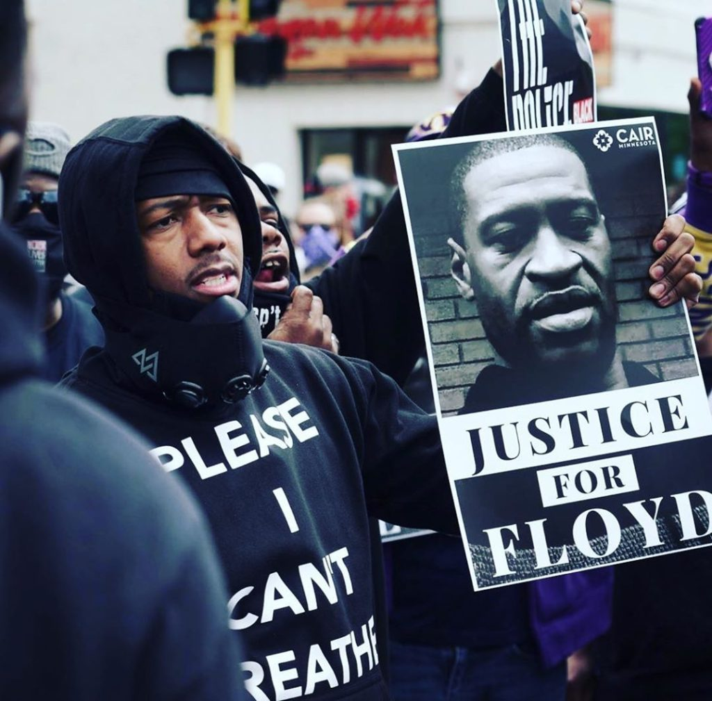Nick Cannon Holding Sign For George Floyd In Minneapolis Protest