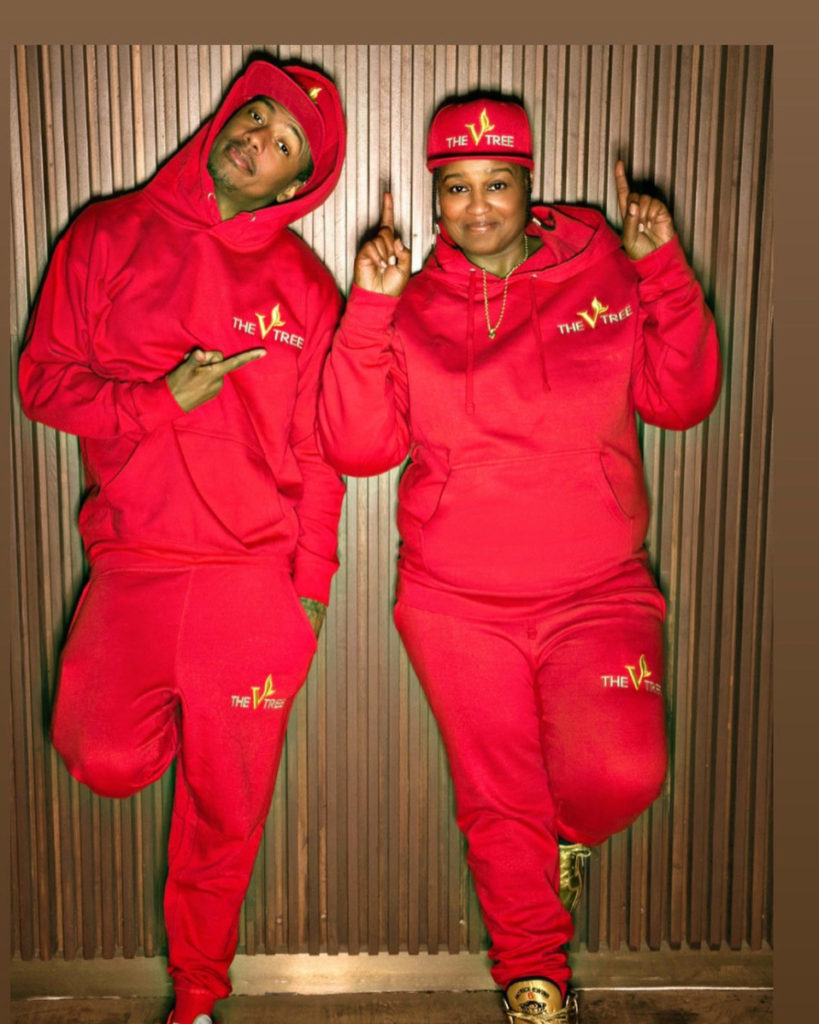Nick Cannon and Chef Velvet in The V Tree Vegan sweatsuits